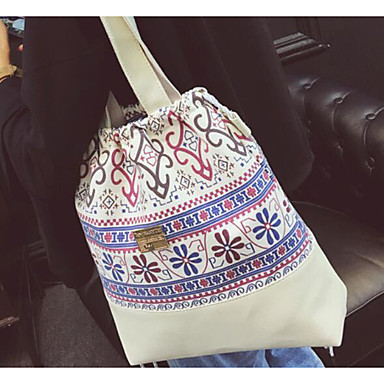 Women Bags All Seasons PU Canvas Shoulder Bag for Casual Outdoor White Black