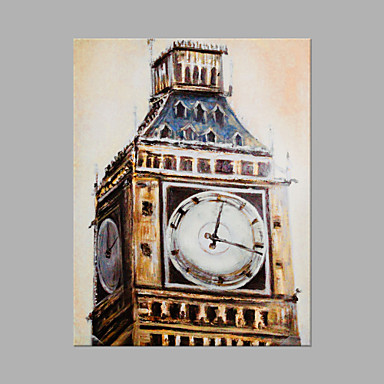 Hang-Painted öljymaalaus Maalattu - Arkkitehtuuri Abstrakti Kangas