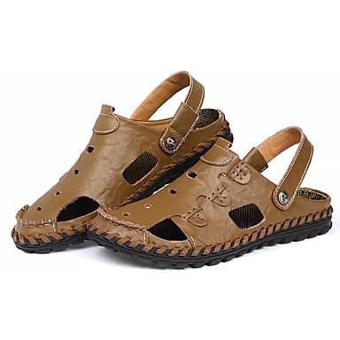 Homens sapatos Borracha Verão Conforto Sandálias Caminhada para Ao ar livre Preto Azul Escuro Amarelo Camel