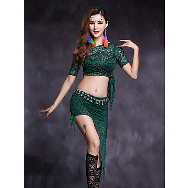 Belly Dance Outfits Women's Performance Lace Lace Short Sleeve Natural Skirts Top