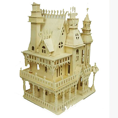3D Puzzles Jigsaw Puzzle Wood Model Model Building Kit Square Famous buildings House Architecture DIY Wood Classic All Ages
