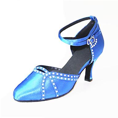 Mulheres Sapatos de Dança Moderna Seda Sandália / Têni Pedrarias / Presilha Salto Agulha Personalizável Sapatos de Dança Azul