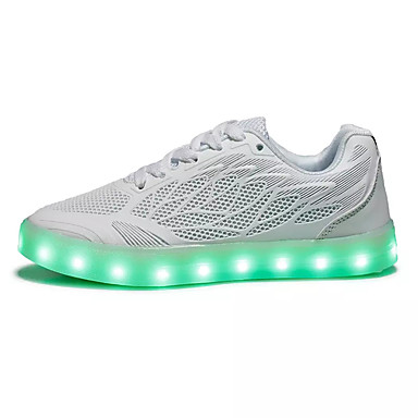 Mulheres Sapatos Couro Ecológico Primavera Outono Solados com Luzes Conforto Tênis Corrida Sem Salto Ponta Redonda LED Cadarço para