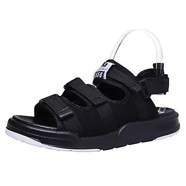 Men's Sandals Light Soles Summer PU Casual Magic Tape Flat Heel Black Flat