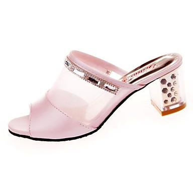 Women's Sandals Comfort Summer PU Walking Shoes Casual Low Heel White Blushing Pink 1in-1 3/4in