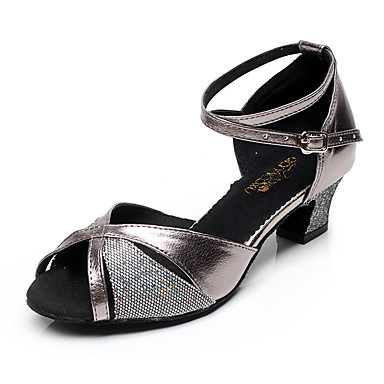 Women's Latin Sparkling Glitter Synthetic Microfiber PU Net Heel Indoor Sparkling Glitter Gray 1