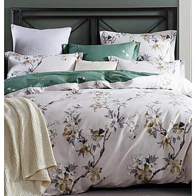 Floral 4 Piece Cotton Print Cotton 1pc Duvet Cover 2pcs Shams 1pc Flat Sheet
