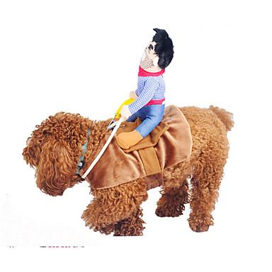 Hund Kostume Hundeklær Jeans Gul Blå Kakifarget Plysj-stoff Polyester Bomull Kostume For kjæledyr Sommer Cosplay