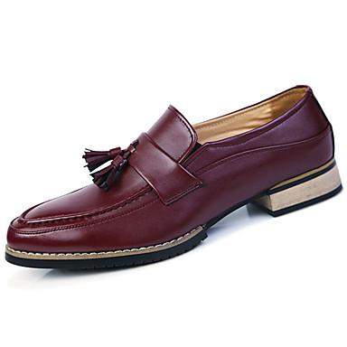 Homens sapatos Couro Ecológico Primavera Outono Solados com Luzes Conforto Oxfords Mocassim para Festas & Noite Preto Marron Vinho
