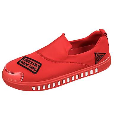 Homens sapatos Tecido Primavera Outono Solados com Luzes Mocassins e Slip-Ons Caminhada para Casual Branco Preto Vermelho
