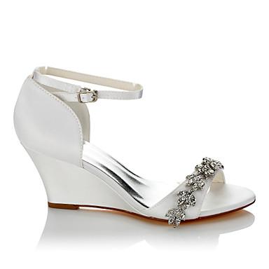 les chaussures de confort en été / / / automne sandales wedge talon ouvert toe chaîne blanc / mariage / partie & soir 3a6511