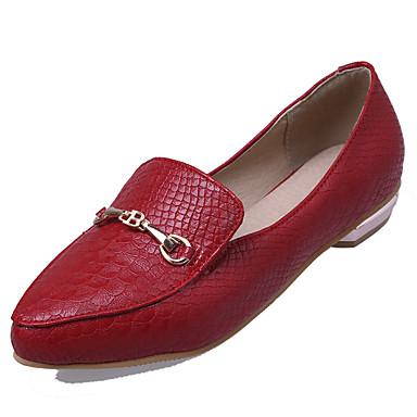 Mulheres Sapatos Courino Primavera / Verão Conforto Saltos Caminhada Salto Robusto Dedo Apontado Presilha Branco / Preto / Vermelho