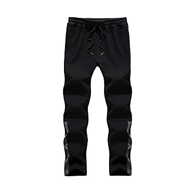 Men's Running Pants Casual/Daily Pants/Trousers/Overtrousers for Running/Jogging Exercise & Fitness Cotton Polyester Slim Black Dark Blue