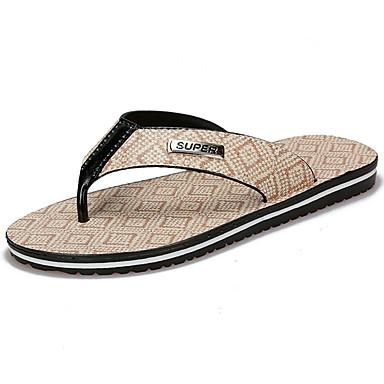 Homens sapatos Couro Ecológico Primavera Verão Conforto Chinelos e flip-flops para Casual Bege Amarelo