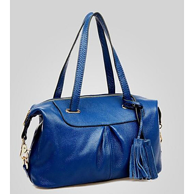 Women Bags All Seasons Cowhide Tote for Casual Outdoor Blue Black