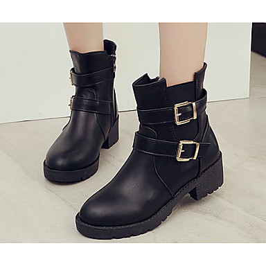 Women's Shoes Real Leather Cotton PU Spring Winter Fashion Boots Boots For Casual Black Brown