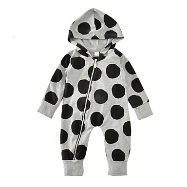 Baby Children's Polka Dot One-Pieces, Cotton Winter Spring/Fall Dot Long Sleeves Gray