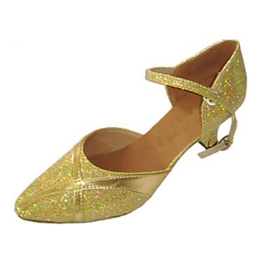 Mulheres Moderna Gliter Sandália Espetáculo Gliter com Brilho Salto Cubano Dourado 2