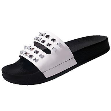 Mulheres Sapatos Couro Ecológico Verão Solados com Luzes Conforto Chinelos e flip-flops Sem Salto Dedo Aberto Tachas para Casual Social