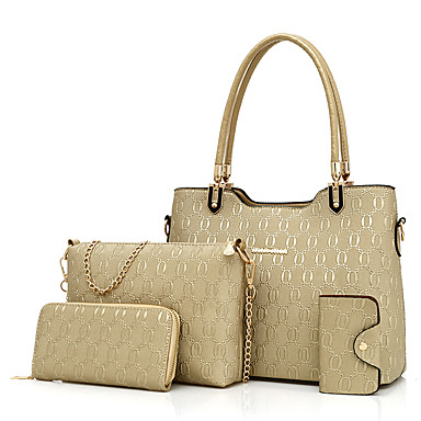 Women Bags All Seasons PU Bag Set for Casual Blue Gold Black Red Beige