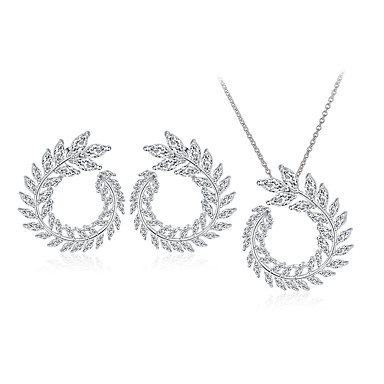 Women's Jewelry Set - Circular Unique Design Dangling Style Basic Circle Silver Hoop Earrings Pendant Necklace Bridal Jewelry Sets For