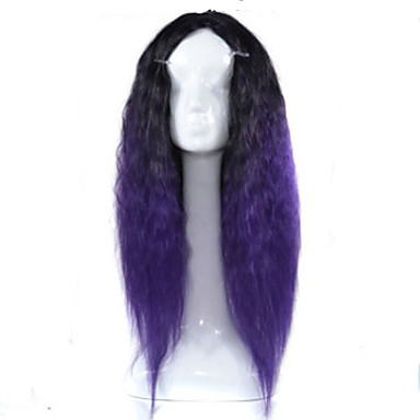 Synthetic Wig Curly Asymmetrical Haircut Synthetic Hair Natural Hairline Black / Purple Wig Women's Medium Length / Long Capless