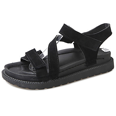 Mulheres Sapatos Couro Ecológico Verão Conforto Sandálias Caminhada Salto Baixo Dedo Aberto para Casual Preto Khaki