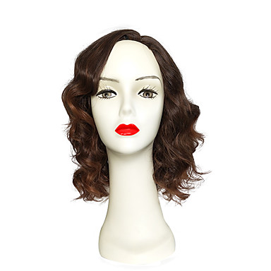 Synthetic Wig Deep Wave Bob Haircut Middle Part Bob Brown Women's Capless Natural Wigs Short Synthetic Hair