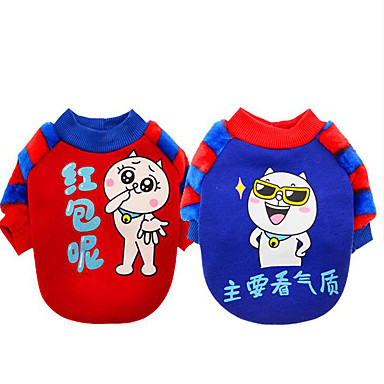Dog Sweatshirt Dog Clothes Cartoon Red Blue Cotton Costume For Pets Men's Women's Casual / Daily