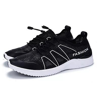 Homens sapatos Couro Ecológico Primavera Outono Conforto Tênis Corrida para Ao ar livre Branco Preto