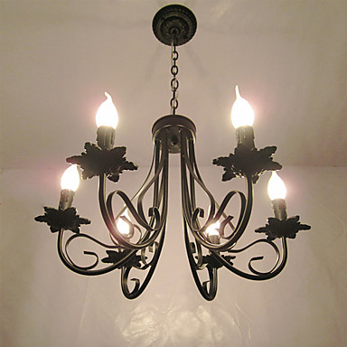 6-Light Chandelier Ambient Light - Candle Style, 110-120V / 220-240V Bulb Not Included / 10-15㎡ / E12 / E14