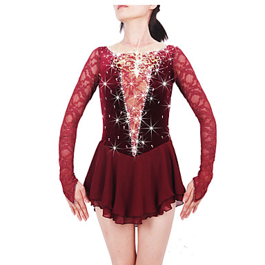 Figure Skating Dress Women's / Girls' Ice Skating Dress Claret-red Spandex, Lace Rhinestone High Elasticity Performance Skating Wear
