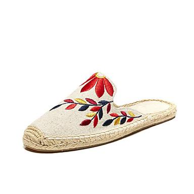 Mulheres Sapatos Linho / Algodão / Lona Primavera / Verão Solados com Luzes / Alpargata Sandálias Sem Salto Ponta Redonda Apliques para