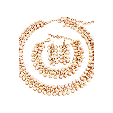 Women's Jewelry Set Pearl Necklace Bridal Jewelry Sets Rhinestone Imitation Pearl Chrome Flower Classic Euramerican Fashion Adorable