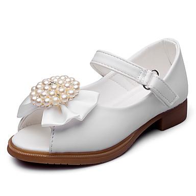 Para Meninas sapatos Courino Verão Outono Conforto Sandálias Laço Pérolas Sintéticas Apliques Velcro para Casamento Festas & Noite Social