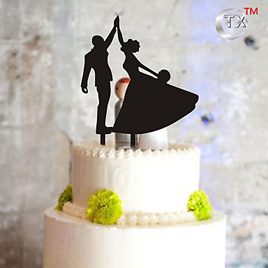 Cake Topper Monogram Plastic Wedding Special Occasion with 1pcs PVC Bag