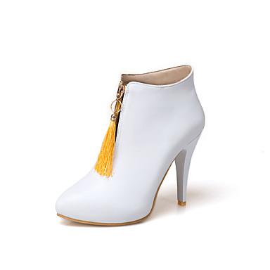 Mulheres Sapatos Courino Outono Inverno Conforto Botas Caminhada Salto Agulha Dedo Apontado Botas Curtas / Ankle Presilha para Casual