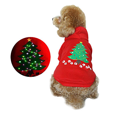 Dog Hoodie Dog Clothes Christmas Floral/Botanical Ruby