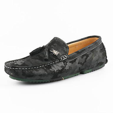 Unisex Moccasin Suede Summer / Fall Loafers & Slip-Ons Black / Gray / Khaki / Party & Evening / Comfort Loafers