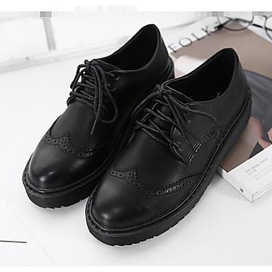 Naiset Kengät PU Kevät Comfort Oxford-kengät Käyttötarkoitus Kausaliteetti Musta Khaki