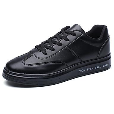 Homens sapatos Couro Ecológico Primavera Outono Conforto Tênis para Ao ar livre Branco Preto Branco/Preto