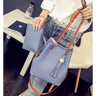 Women's Bags Polyester PU Tote for Casual Outdoor All Seasons Blushing Pink Gray Light Blue
