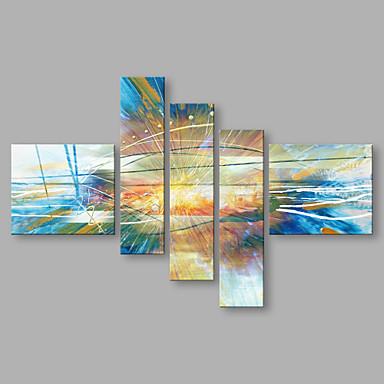 Hang-Painted öljymaalaus Maalattu - Abstrakti Abstrakti Kangas 5 paneeli