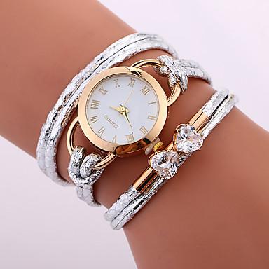 baratos Relógios Senhora-Mulheres Bracele Relógio envoltório relógio Quartzo Enrole Couro PU Acolchoado Branco / Azul / Vermelho Impermeável Criativo Analógico senhoras Casual Fashion Elegante - Vermelho Azul Rosa claro Um