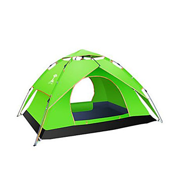 3-4 persons Tent Double Camping Tent One Room Automatic Tent Waterproof Rain-Proof Anti-Insect for Camping / Hiking Canvas CM