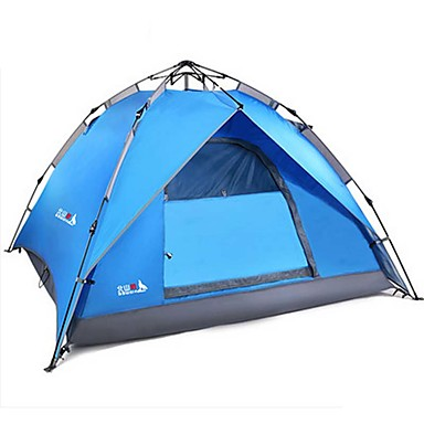 BSwolf 3-4 persons Tent Double Camping Tent One Room Automatic Tent Waterproof Rain-Proof Dust Proof Foldable for Camping / Hiking