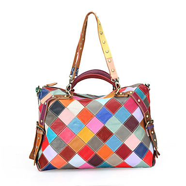 Women's Bags Cowhide Shoulder Bag for Event / Party Casual Formal Office & Career All Seasons Black Rainbow