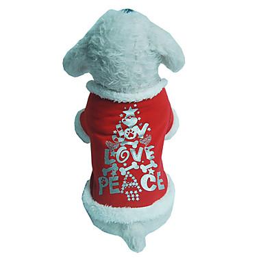 Hund Vest Hundeklær Jul Bokstav & Nummer Rød Kostume For kjæledyr