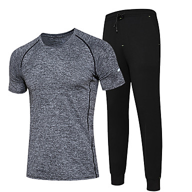 Men's Running T-Shirt with Pants Clothing Suits Moisture Wicking Quick Dry Running for Running/Jogging Exercise & Fitness Coolmax