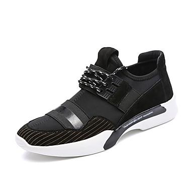 Homens sapatos Couro Ecológico Outono Inverno Conforto Tênis Cadarço para Atlético Casual Ao ar livre Preto Castanho Escuro Khaki